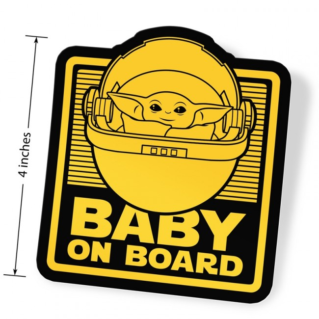 Baby Yoda On Board Vinyl Sticker